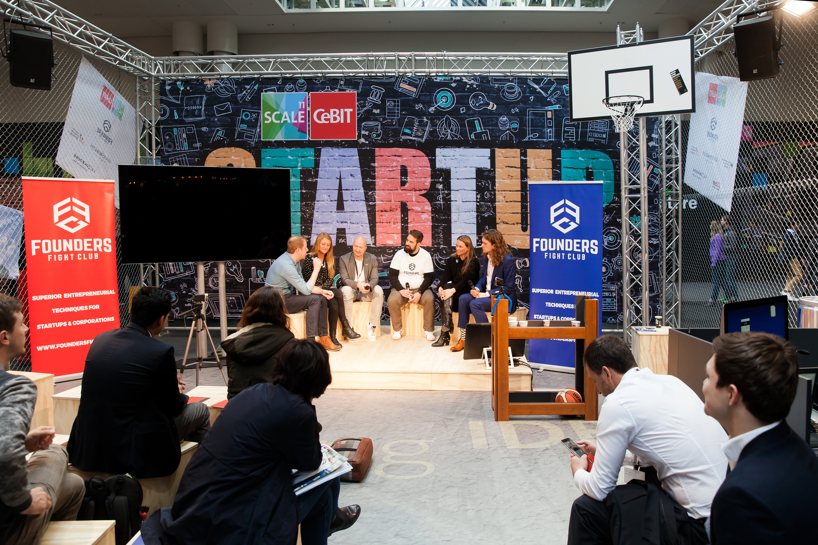 Founders Fight club conference, live stage conference on exhibition Cebit 2017 in Hannover Messe, Germany