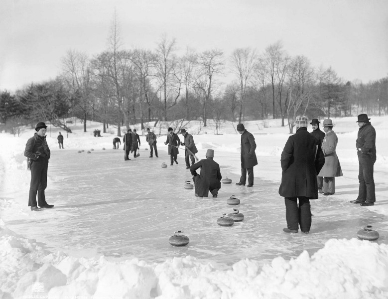 Curling in Central Park, New York, 1900-1906