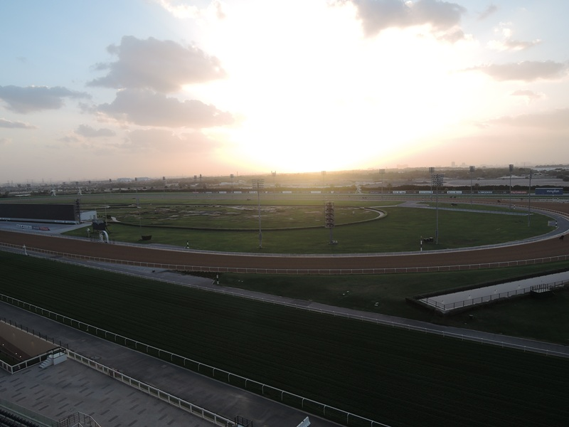 Meydan hotel overlooking the racecourse (the Dubai World Cup horse race is held here every year)