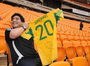 Diego Maradona visits Soccer City Stadium